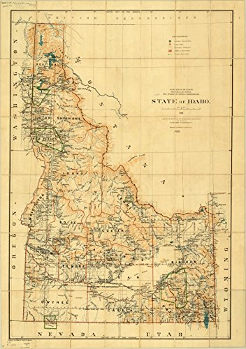 Historic Map Reproductions - Historic Map | Idaho 1891 | State of Idaho | Antique Vintage Reproduction 24in x 36in