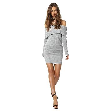 7aa45660cb0e Longwu Sexy Womens Off Shoulder Slim Long Sleeve Sweater Tight Evening  Party Mini Dress -Grey