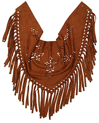 S-782-45 Triangle Faux Suede Tassel Snap Scarf - Tan