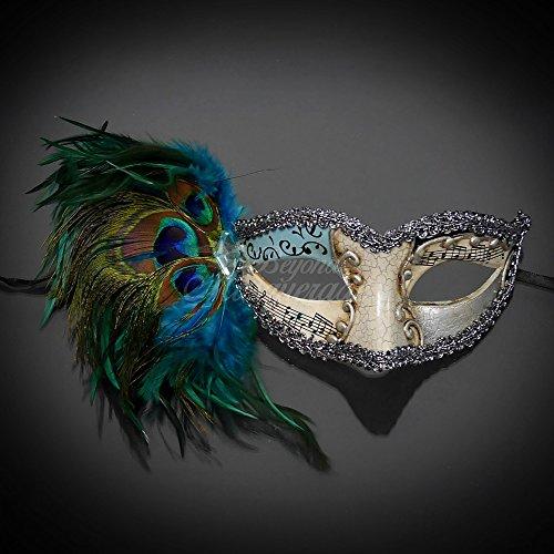 Peacock Feathers Classic Venetian Masquerade Mask- Light Blue (Mardi Mask Gras Peacock)