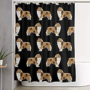 NiYoung Shower Curtain Rough Collie Dog Print Luxurious Graphic Print Polyester Fabric Bathroom Decor Sets with Hooks 70 x 70 Inches 9