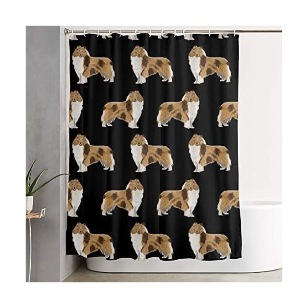 NiYoung Shower Curtain Rough Collie Dog Print Luxurious Graphic Print Polyester Fabric Bathroom Decor Sets with Hooks 70 x 70 Inches 1
