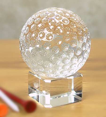 Golf Collectible (Waltz&F 60mm Clear Crystal Golf Bll Paperweight with Base Stand Crystal Collectible Figurines,Dia Approx 2.36