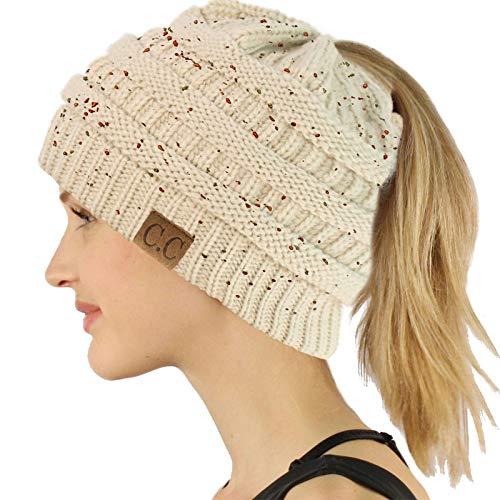 Ponytail Messy Bun BeanieTail Soft Winter Knit Stretchy Beanie Hat Cap Confetti Oatmeal