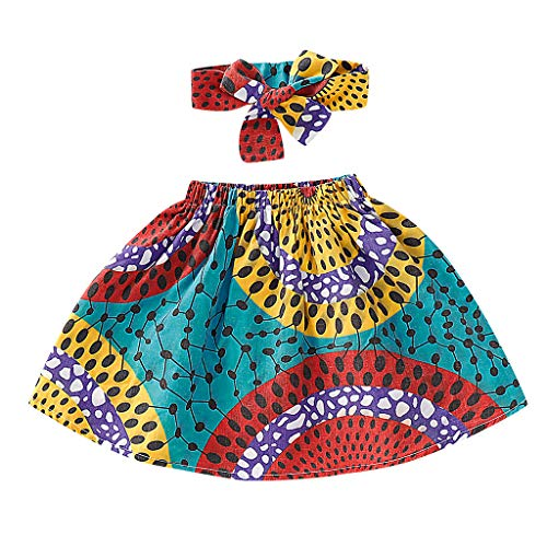 MALLOOM Toddler Baby Girl African Skirt+Headband Dashiki Print Clothing Set Blue