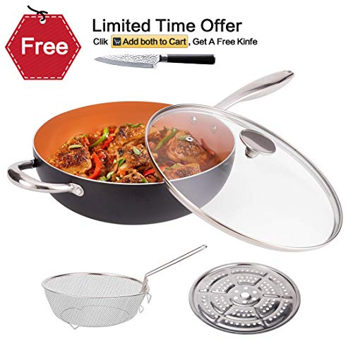 Non Stick Wok Set - MICHELANGELO 5 Quart Nonstick Woks and Stir Fry Pans With Lid, Frying Basket & Steam Rack, Nonstick Copper Wok Pan With Lid, Ceramic Wok With Lid, Nonstick Frying Wok Flat Bottom, Induction Compatible
