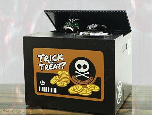 URTop Creative Unique Stealing Money Skull Skeleton Statue Never Open Coin Saving Box Piggy Money Bank For Children Halloween Gift ()