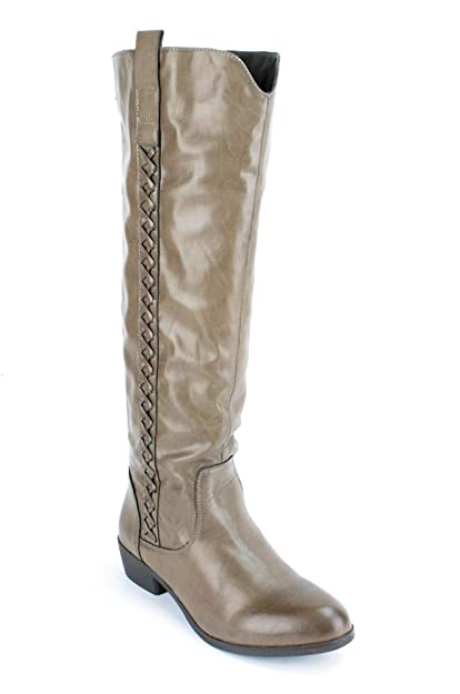 amazon com m i a crossings women s taupe distressed boot us 6 5 m