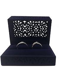 Hollow Royal Blue Velvet Ring Box - Couple Double Ring Bearer Box for Wedding, Engagement Gift Favor (ring box)