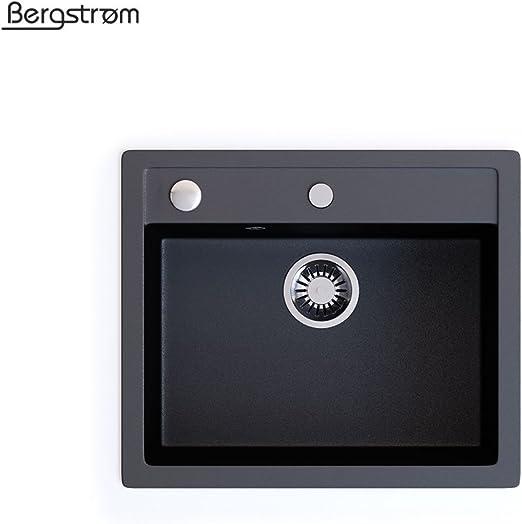 Bergström Granit Spüle Küchenspüle Einbauspüle Spülbecken 577x418mm Schwarz
