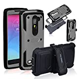 Anyshock Heavy Duty Shockproof Durable Full Body Protection Rugged Hybrid holster Case with belt Swivel clip, built-in Screen Protector and Kickstand for LG G Stylo 2/G Stylus 2/LS775-Gray