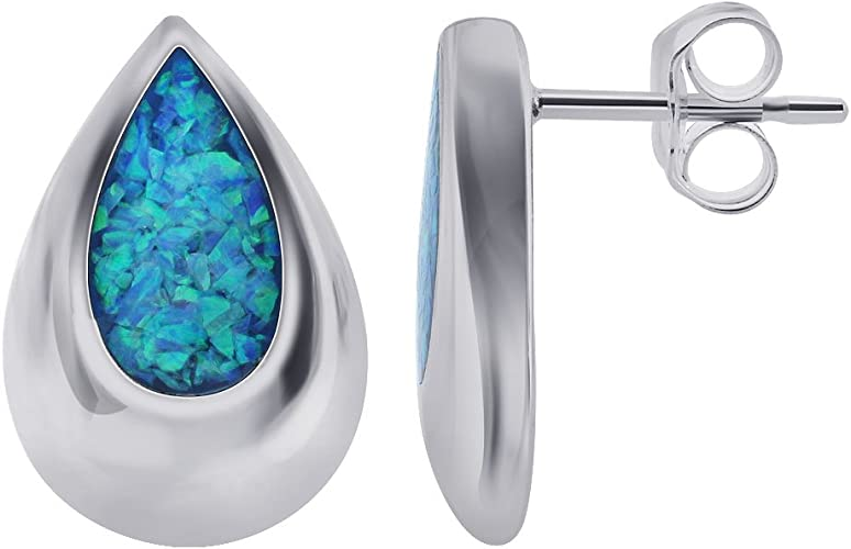 Sterling Silver Oval Turquoise Inlay Post or Stud Earrings