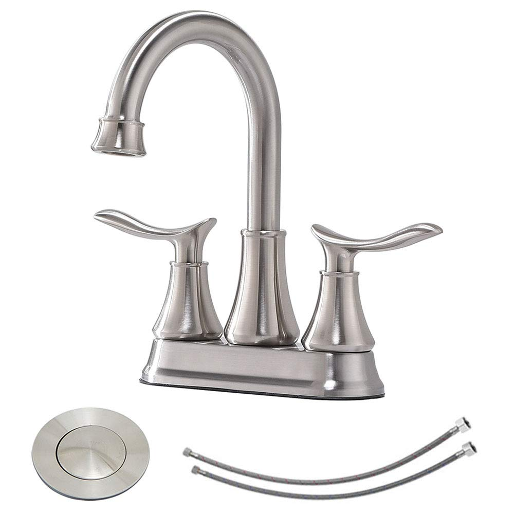 KINGO HOME Contemporary Lavatory Vanity 2 Handles 2 Holes Brushed Nickel Bathroom Faucet, Bathroom Sink Faucet With Water Supply Lines & Pop Up Drain by KINGO HOME