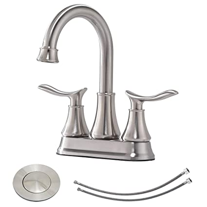 Genial KINGO HOME Contemporary Lavatory Vanity Two Handle Two Hole Brushed Nickel Bathroom  Faucet, Bathroom Sink