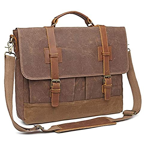 - 51Ywa 2B 2BbwHL - Messenger Bag for Men 15.6 inch Waterproof Waxed Canvas Genuine Leather Briefcase Computer Laptop Bag Large Retro Satchel Shoulder Bag Brown