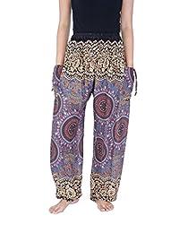 Lannaclothesdesign Womens Smocked Waist Harem Boho Pants Floral Rayon Print