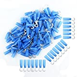 HOODDEAL 100 PCS Male Hook (Wire 1.5-2.5mm², Screw M5, AWG 16-14) Heat Shrink Insulated Nylon Butt Wire Quick Connectors Electrical Crimp Terminal, Blue