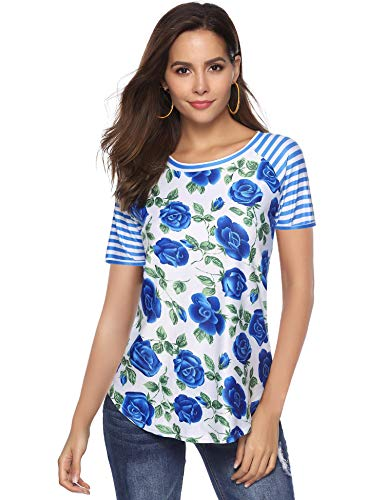 Womens Short Sleeve Tops Casual Floral Print Striped Blouses Scoop Neck Tee Sky Blue ()