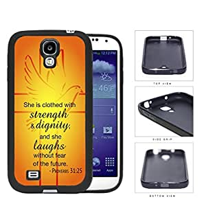Proverbs 31:25 Bible Verse Orange & Yellow Background with Cross & Dove Overlay [Samsung Galaxy S4 I9500] Rubber Silicone TPU Cell Phone Case