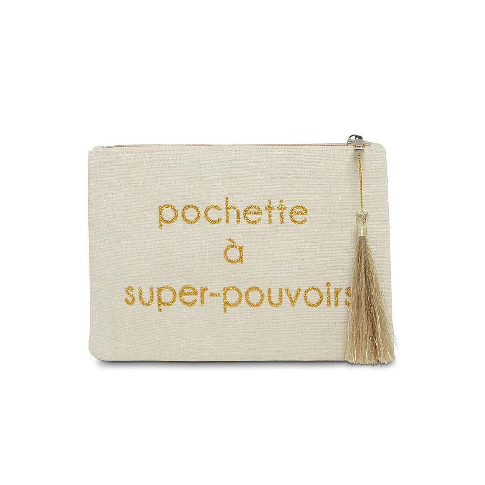 Mes-bijoux.fr Grande pochette /à message beige POCHETTE A SUPER POUVOIRS dor/é