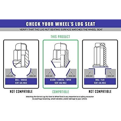 Wheel Accessories Parts 20 Dual Coating Chrome 12x1.5 Closed End Bulge Acorn Lug Nuts - Cone Seat - 19mm Hex Wheel Lug Nut: Automotive