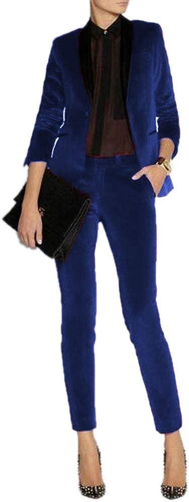 JYDress Women's Velvet Pant Suits Set Ladies Business Office Tuxedos Formal Work Wear
