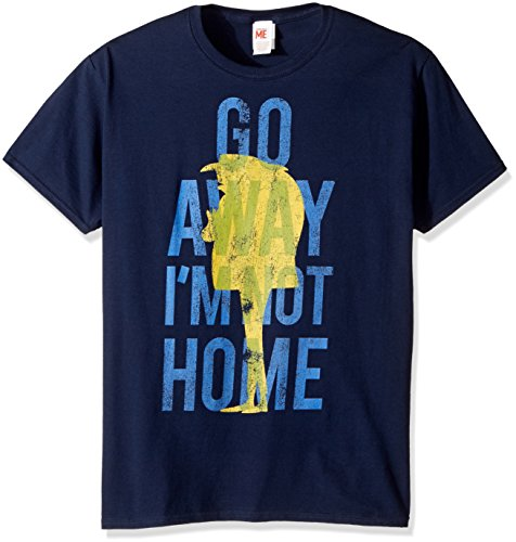 Despicable Me Men's Minions Gru Go Away I'm Not Home Funny Quote Graphic Tee, Navy Large ()