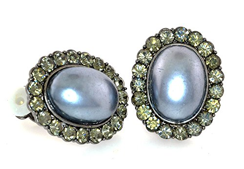 Clear Austrian Crystal White Oval Faux Pearl-Framed Clip-On Earrings - - Oval Faux Pearl