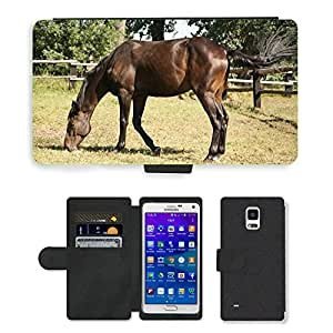 GoGoMobile Flip PU Leather Wallet Case with Credit Card Slots // M00117823 Horse Animal Mammal Farm Ride Range // Samsung Galaxy Note 4 IV