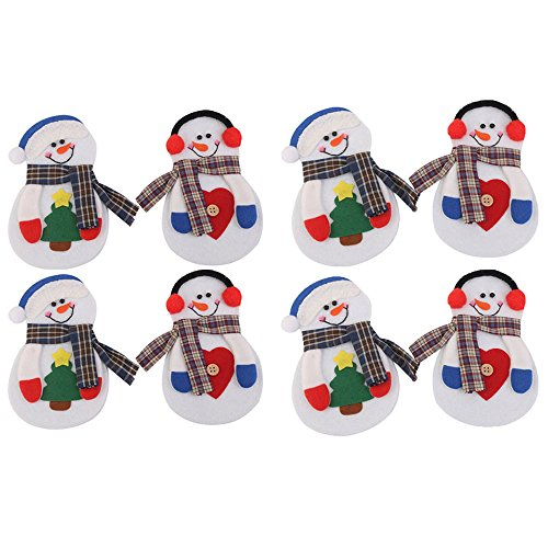 8pcs/set Christmas Decorations Snowman Cutlery Bags Christmas Santa Claus Kitchen Dining Table (Tombstones For Halloween Funny Names)