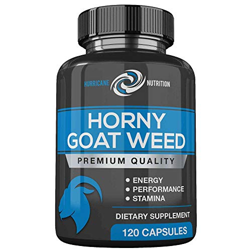 Hurricane Nutrition Horny Goat Weed Extra Strength 1000mg | 120 Capsules | Fortified With Tongkat Ali | L Arginine | Maca | Tribulus Terrestris | Ginseng | All Natural Energy Booster For Men & Women ()