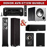 Denon AVR-S710W 7.2 Channel Full 4K Ultra HD A/V Receiver + A Polk Audio TSi Series Home Theater Speaker Package (TSi300, TSi100, CS10 & PSW10)