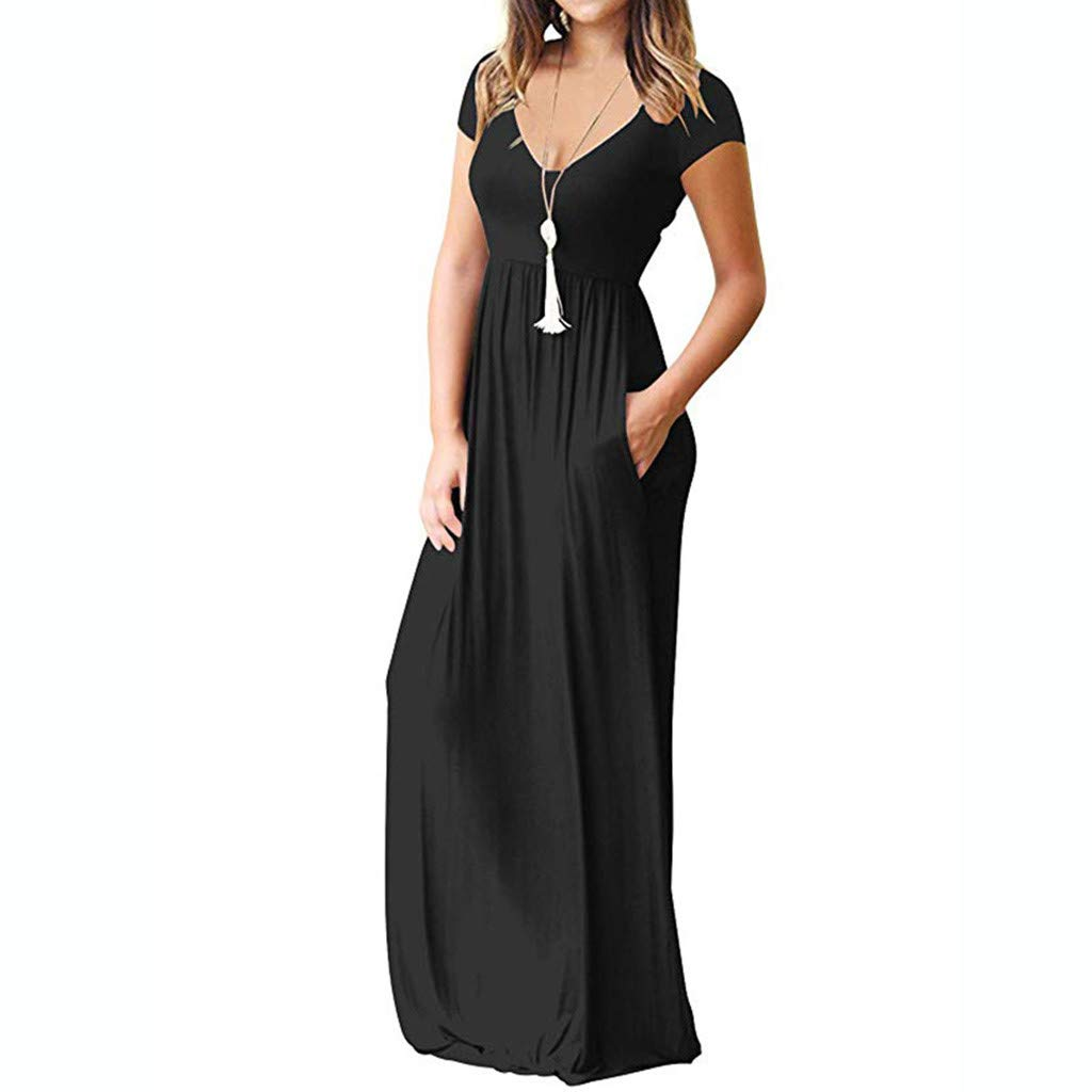 5eb7bcd78f8cf Women's Pregnancy Gown Cross-Front V-Neck Short Sleeve Dress Maternity  Loose Plain Maxi Dress at Amazon Women's Clothing store: