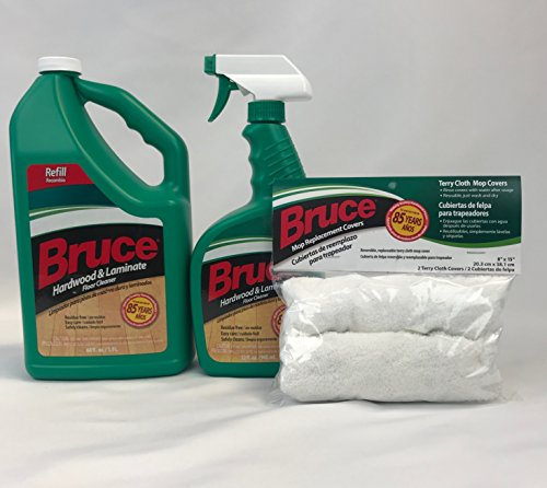 Bruce Hardwood and Laminate FloorCleaner 64oz + 32oz + Mop Cover Replacement (2 pack) ...
