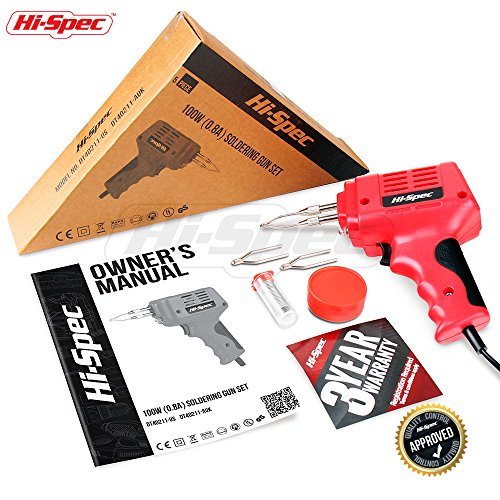 Hi-Spec 100 W 0.8A Heavy Duty Soldering Gun Set with 900°F Max Temp Great for Plumbing, Electronics, Circuit Boards, Crafting, Automotive, Metalwork & Industrial Applications Soldering Gun Kit by Hi-Spec (Image #5)