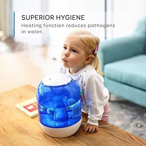 eufy Humos Air 1.0, Ultrasonic Cool Mist Humidifier with Ultra-Quiet Operation, Anti-Bacterial Water Warmer, 1.0 Gallon/4 Liter, Up to 20 Hours Use, Auto Shut-Off, Single-Room/Studio/Office Use