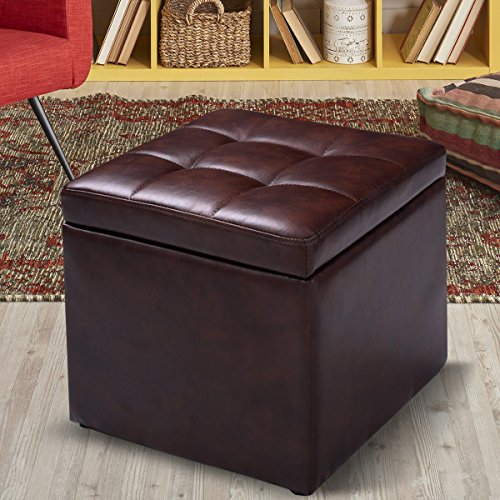 Giantex Cube Ottoman Pouffe Storage Box Lounge Seat Footstools with Hinge Top (Brown) (Seat Footstool)