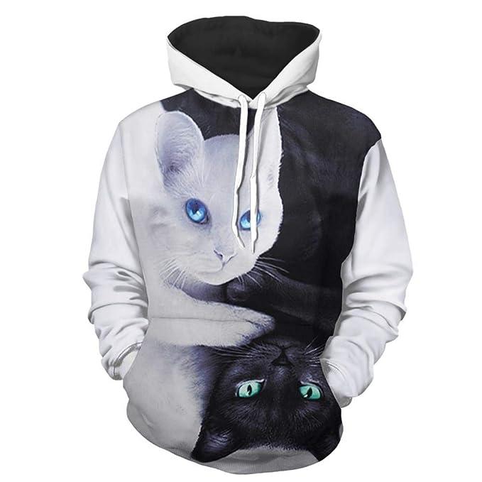 Gato Sudadera con Capucha 3D Impresión Pullover Sudaderas De Tendencia Hoodie Sweatshirt de Mangas Largas Bolsillos Unisex Cosplay,Manga,Dibujos Animados: ...