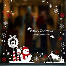 Y-Hui The Store Window Glass Wall Stickers Stickers to Decorate The Living Room Atmosphere of Christmas Day Christmas Shopping Mall,Christmas Snowman,in