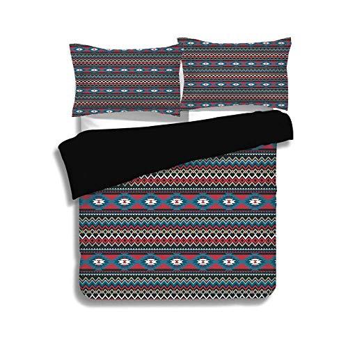 SINOVALBlack King Size,Native American,Primitive Style Aztec Folkloric Striped Design Antique Maya Patterns,Black Blue Coral, 3 Pcs Fashion Bedding Set with 2 Pillow Shams