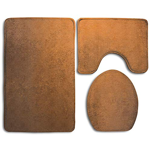 CuteToiletLidABC Grungy Vintage Texture Old Abstract Copper Surface Autumn Theme Print Bathroom Rug Mats Set 3 Piece,Funny Bathroom Rugs Graphic Bathroom Sets,Anti-Skid Toilet Mat Set ()
