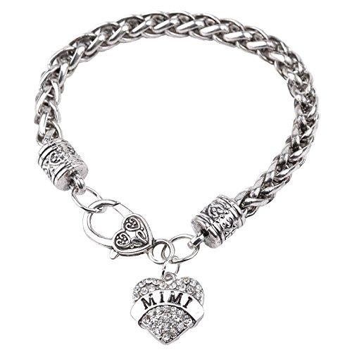 Bling Stars Mimi Bracelet Clear Crystals Lobster Claw Heart ()