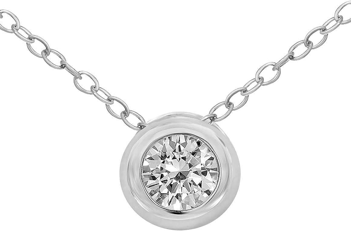 Colgante de diamantes naturales IGI Certified 1/3 cttw Colgante de diamantes para mujeres 14K Colgante de diamantes de oro blanco IJI3 Calidad 14K Colgante de diamantes para mujeres (Regalos de joyas