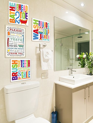 Stupell Home Décor Bathe Everyday Head 2 Toe Colorful Bath Art Wall Plaque, 12 x 0.5 x 12, Proudly Made in USA