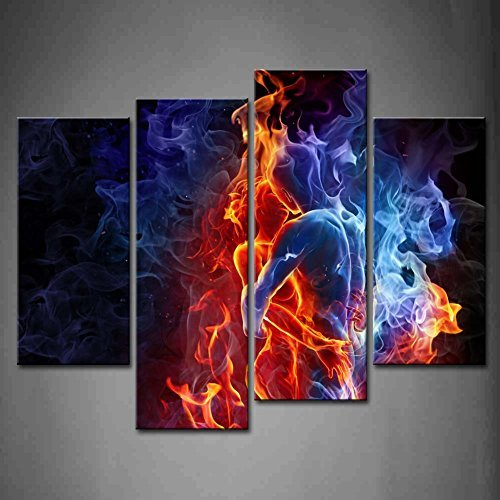 - Funy Decor 4 Panel Red Fire Hot Couple Kiss Each Other Blue Yellow Man and Woman Oil Paintings On Canvas Print People Pictures Modern Wall Art Set, Stretched and Framed (Ready to Hang)