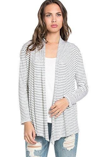 Multi Stripe Wrap Sweater (Encler Women's Basic Solid Long Sleeve Open Front Draped Cardigan Wrap Sweater USA (Small, Stripe))