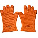 Lepilion Heat Insulated Silicone Oven Mitts BBQ Grilling Gloves | Versatile Owen Hot Pads | Cooking, Baking, Barbecue, Potholder | Insulated & Waterproof | Finger, Hand, Wrist Protection Warranty