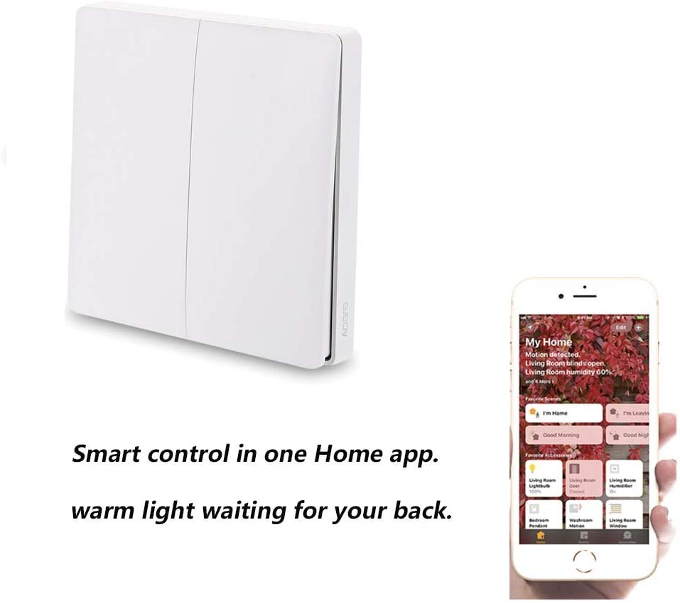 Aqara Wall Switch,Aqara WiFi Smart Lichtschalter ZiGBee Version, WiFi 2,4 GHz Wireless Remote Control Home Kit de para Mi Home App, Wandschalter inteligente Türklingel-Lichtschalter