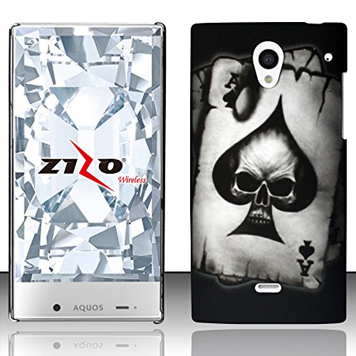 Sharp Aquos Crystal 306SH Case, Hard Rubberized Cover by MEGATRONIC - Spade Skull [With FREE Touch Screen Stylus Pen]