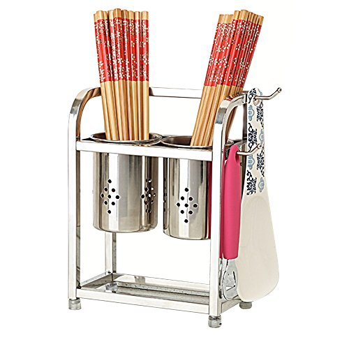 304 Stainless Steel Hanging Double Chopsticks/Knife Rack Kitchen Multifunction Hollow Drain Rack Size:171023cm/191223cm Durable (Color : A) by HAN Tool rack